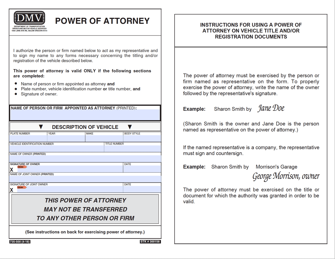 power of attorney form for vehicle  Free Oregon Motor Vehicle Power of Attorney (Form 11-11) | PDF
