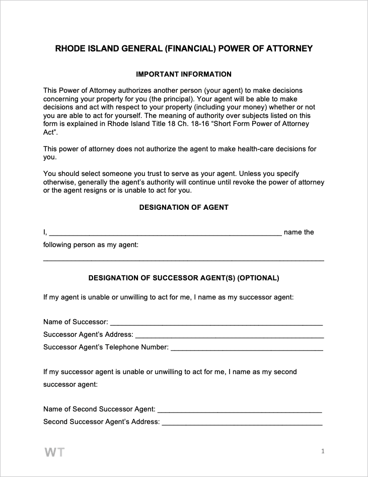 general power of attorney form pdf  Free Rhode Island General (Financial) Power of Attorney Form ...