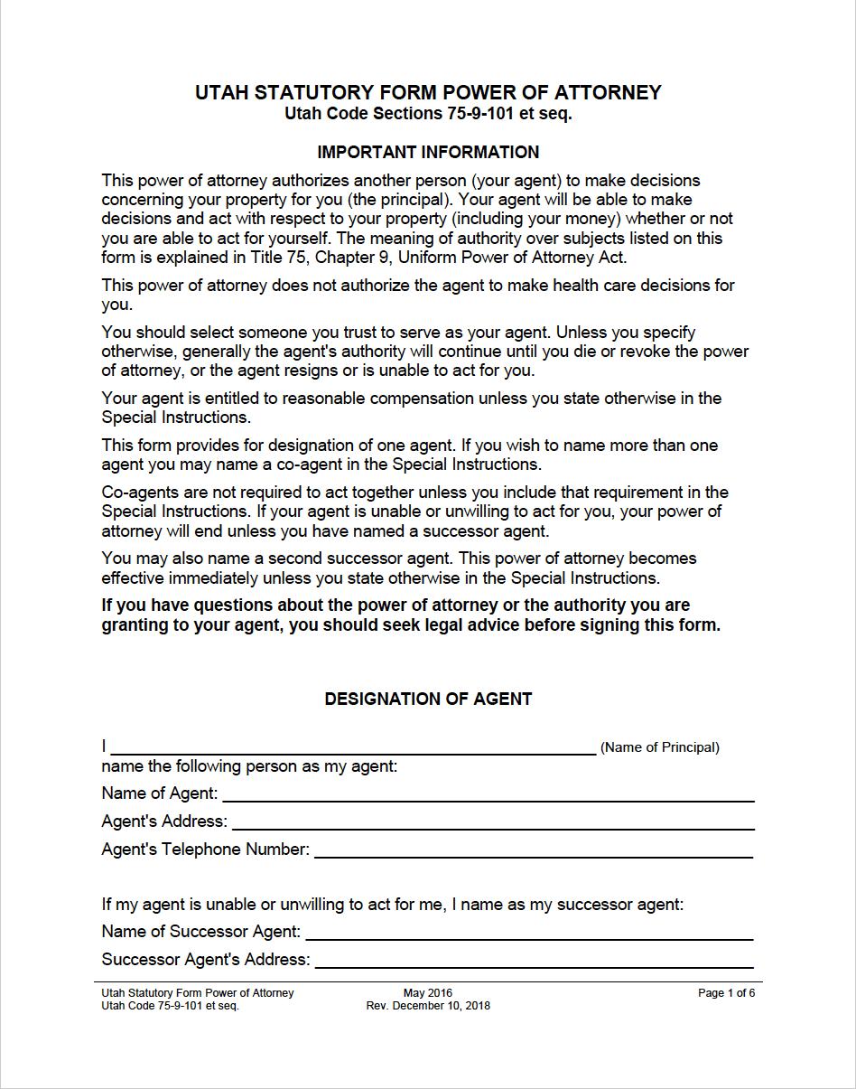 power of attorney form utah  Free Utah Power of Attorney Forms | PDF | WORD