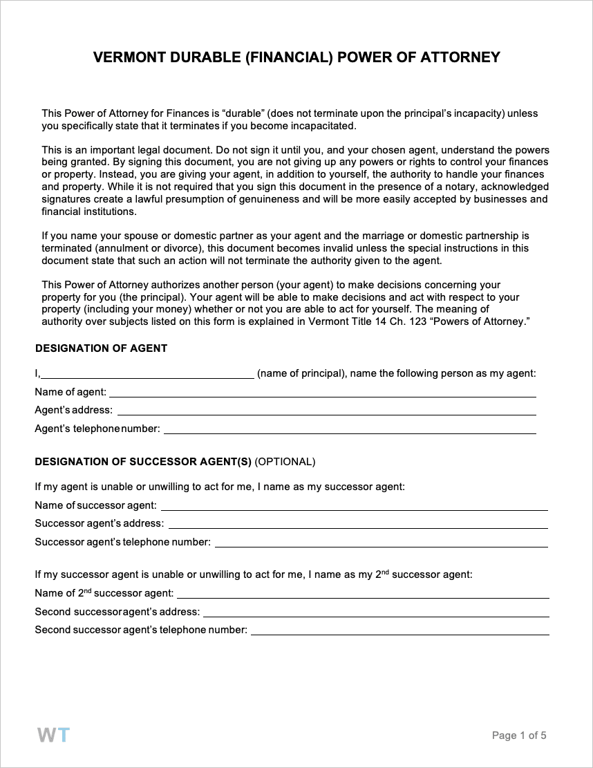 power of attorney form vt  Free Vermont Power of Attorney Forms | PDF | WORD