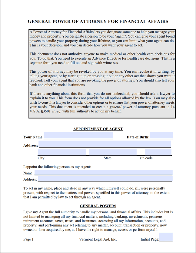 Free Vermont General (Financial) Power of Attorney Form | PDF