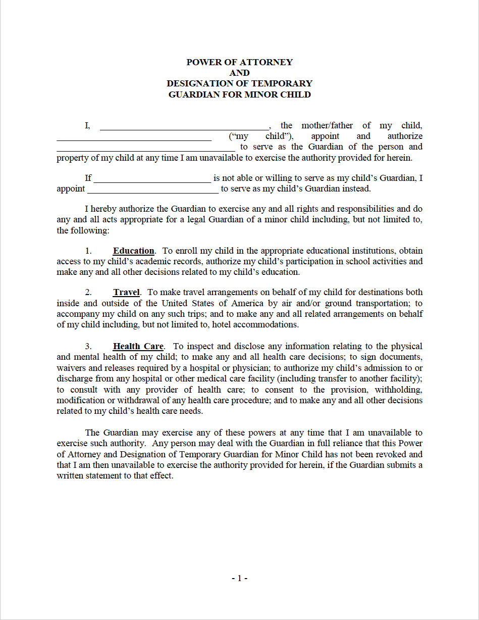 power of attorney form child  Free Maryland Minor Child Power of Attorney Form | PDF | WORD