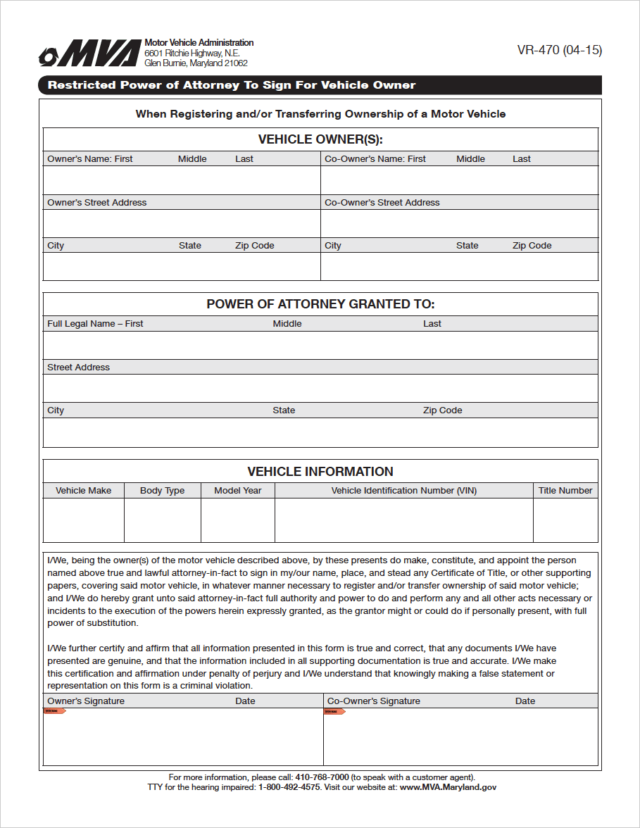 power of attorney form maryland  Free Maryland Motor Vehicle Power of Attorney (Form VR-11 ...