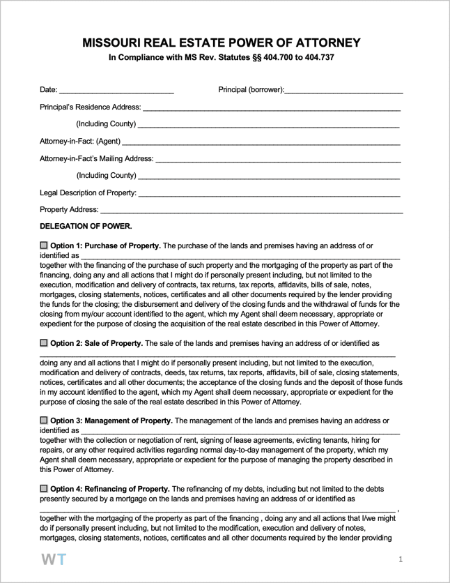 Free Missouri Real Estate (Property) Power of Attorney Form