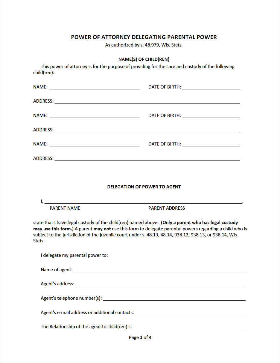 Free Wisconsin Minor Child Power of Attorney Form | PDF | WORD