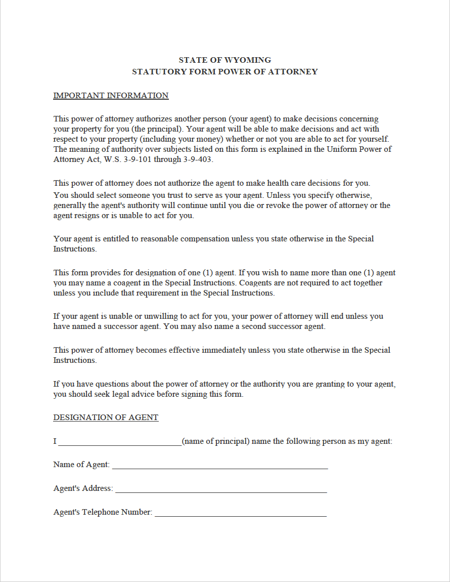 power of attorney form wyoming  Free Wyoming Power of Attorney Forms | PDF | WORD | RTF
