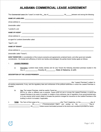 Alabama Commercial Lease Template