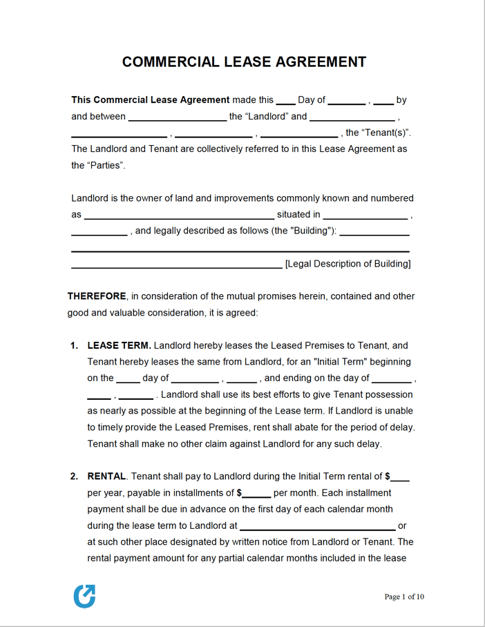 Free Commercial Lease Agreement Templates Pdf Word Rtf