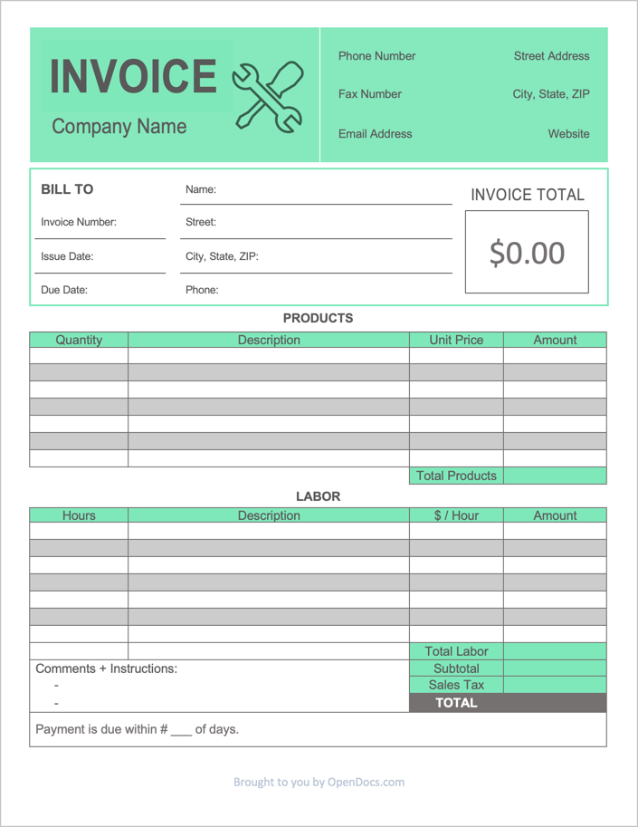 Free Contractor Invoice Template Pdf Word Excel
