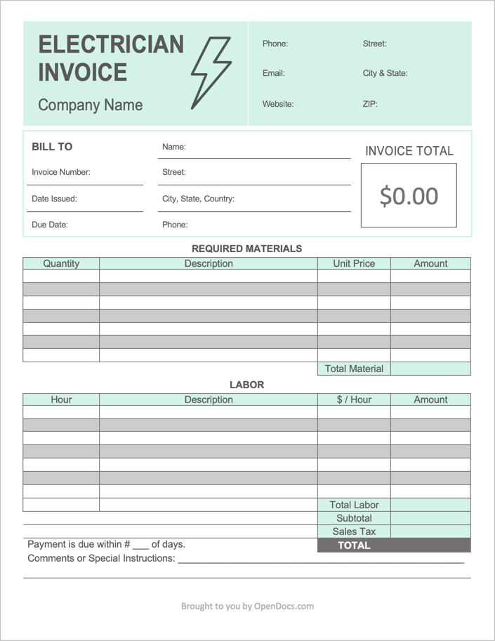 Free Electrician Invoice Template Pdf Word Excel