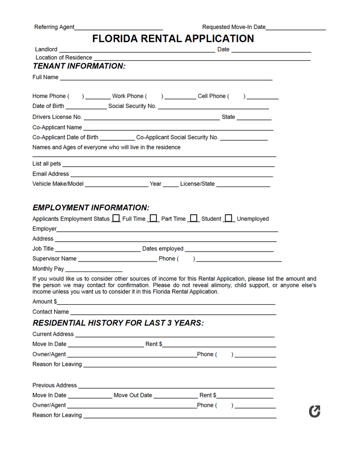 Free Florida Rental Application Pdf Word