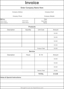 Blank Invoice Template Google Docs from opendocs.com