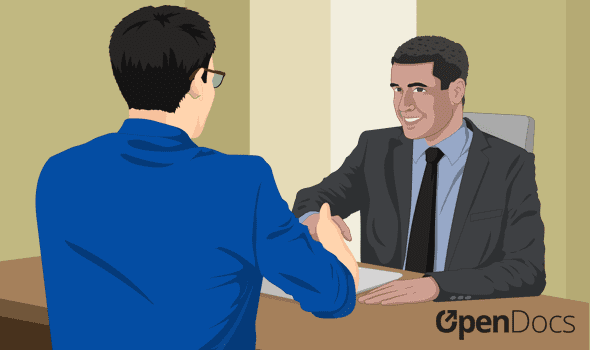 An employee shaking hands with an employer after being hired.