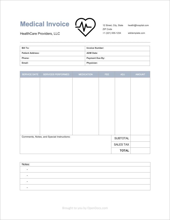 free medical invoice template pdf word excel. Black Bedroom Furniture Sets. Home Design Ideas