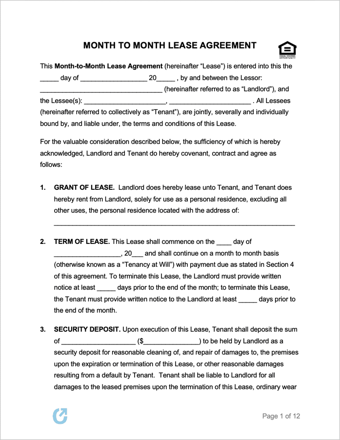 Free Month To Month Lease Agreement Templates Pdf Word Rtf