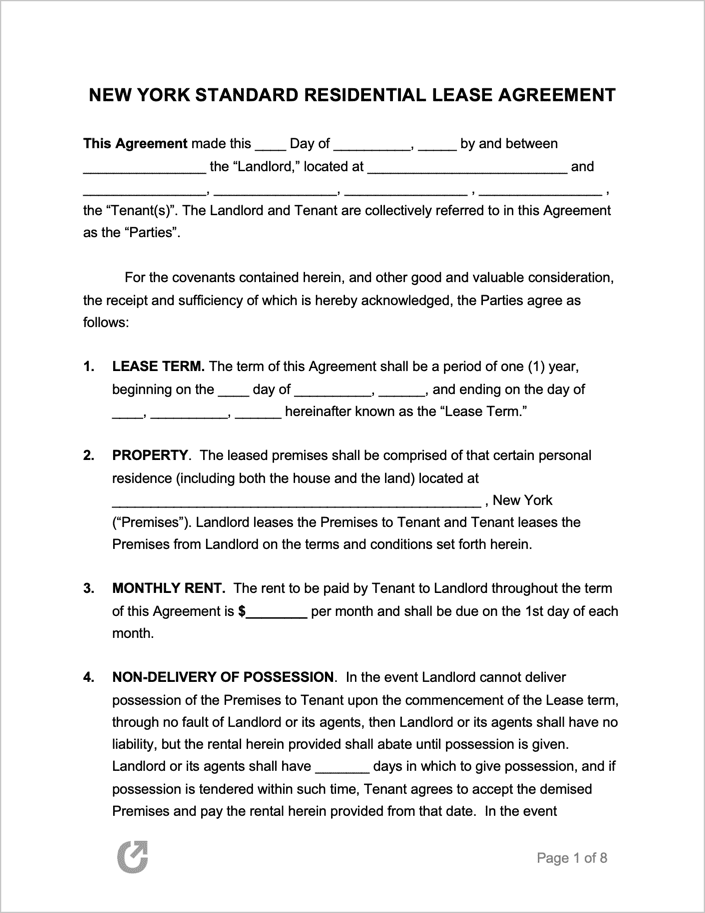 New York Apartment Lease Contract