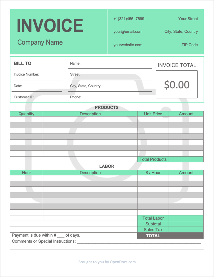Free Photography Invoice Template Pdf Word Excel