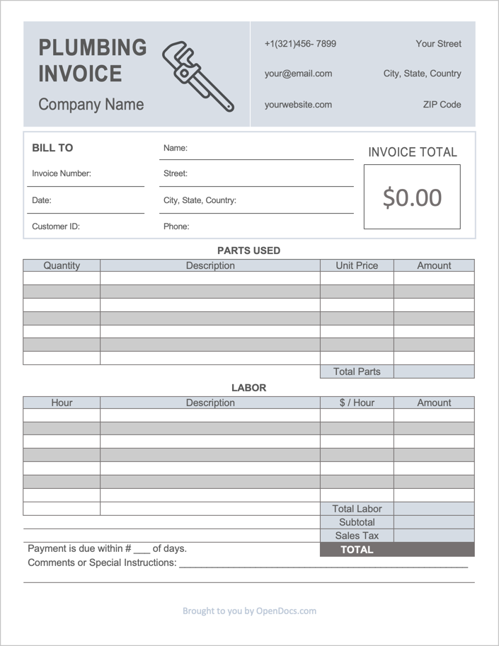 Free Plumbing Invoice Template Pdf Word Excel