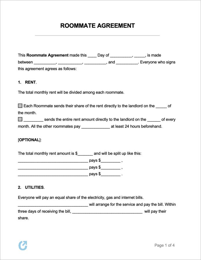 free roommate agreement templates pdf word rtf. Black Bedroom Furniture Sets. Home Design Ideas