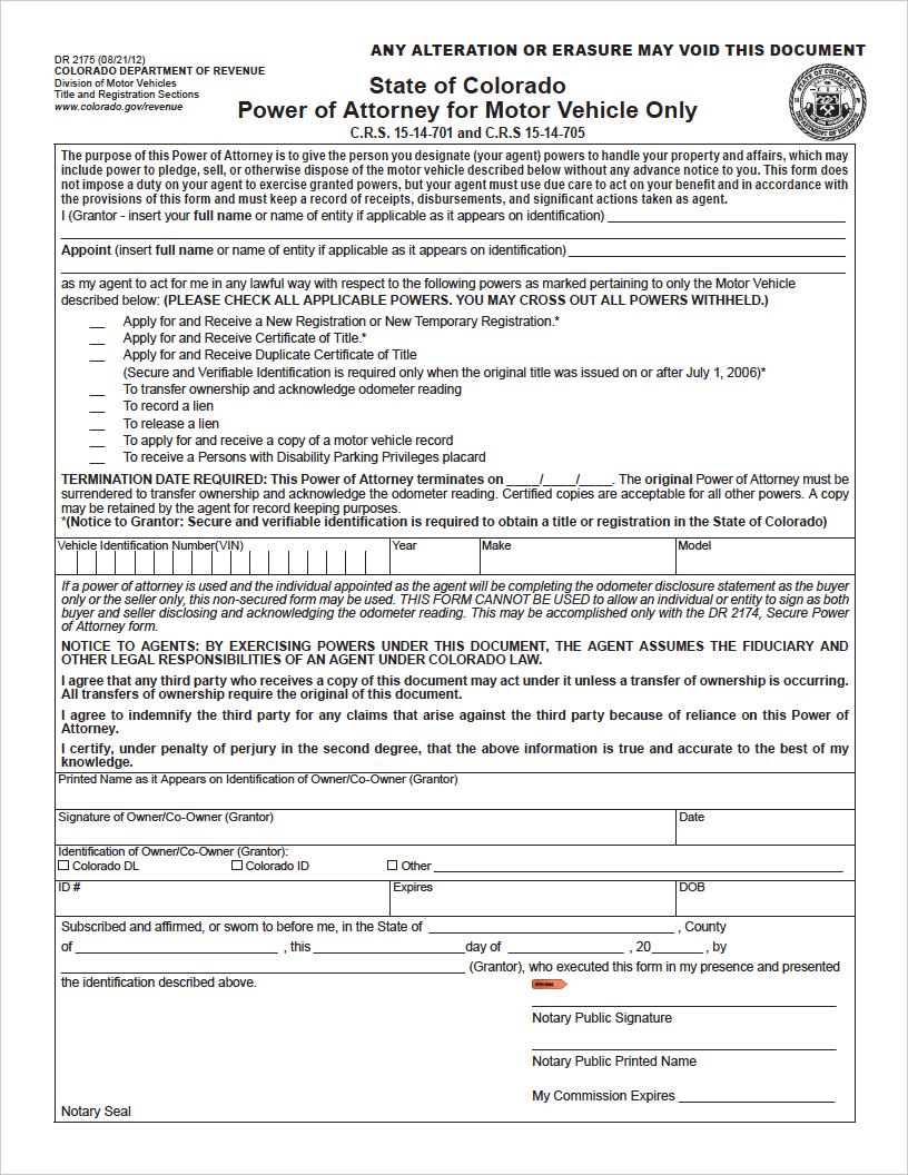 power of attorney form colorado  Free Colorado Motor Vehicle Power of Attorney | Form DR 10 ...