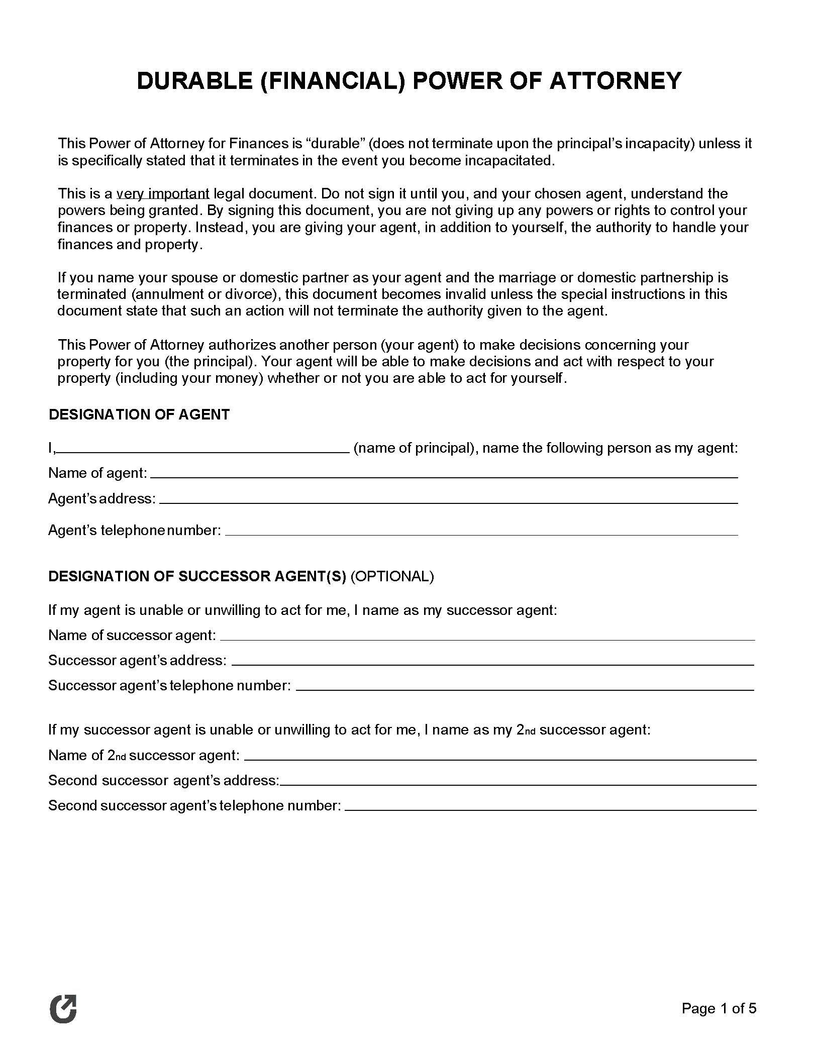 Free Durable Power Of Attorney Forms Pdf Word