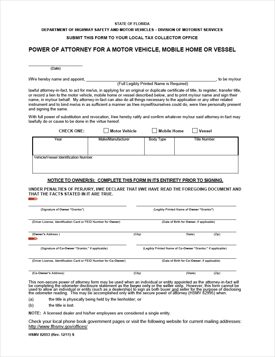 power of attorney form 82053  Free Florida Motor Vehicle Power of Attorney | Form HSMV ...