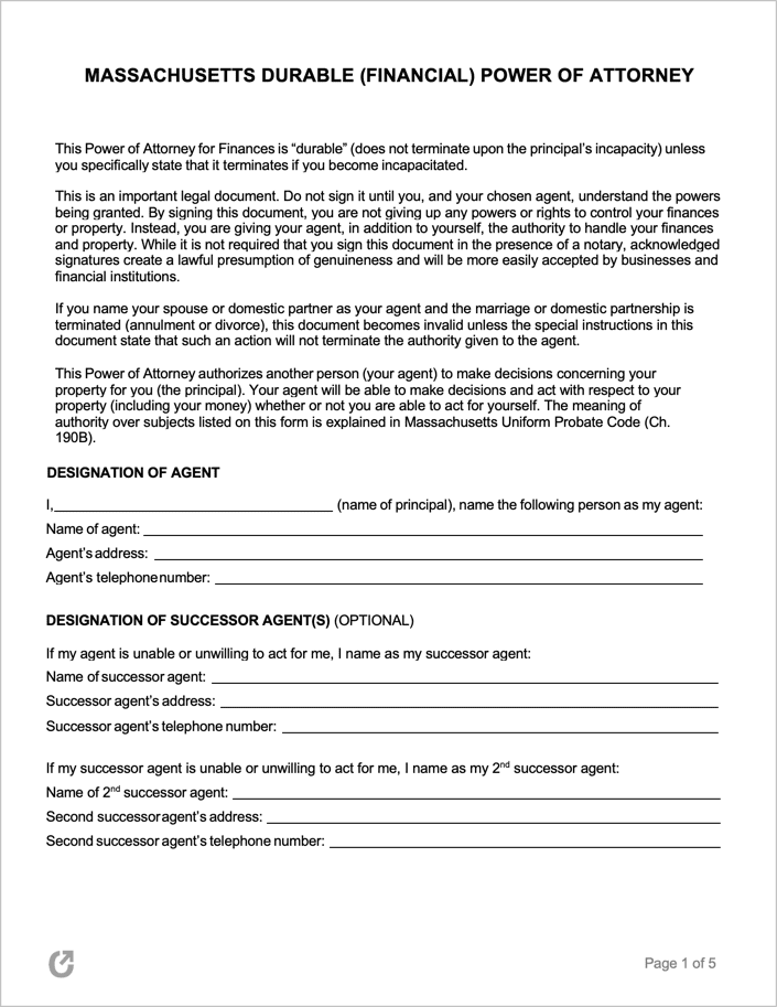 It is a photo of Printable Durable Power of Attorney Form for financial