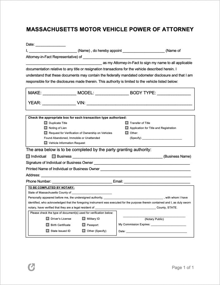 Rmv 1 Form >> Free Massachusetts Motor Vehicle Rmv Power Of Attorney