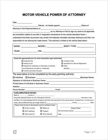 Motor Vehicle Power of Attorney Form