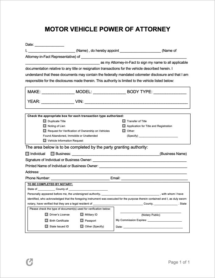 power of attorney form kansas vehicle  Free Motor Vehicle Power of Attorney Forms