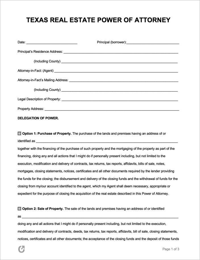 power of attorney form real estate  Free Texas Real Estate (Property) Power of Attorney Form ...
