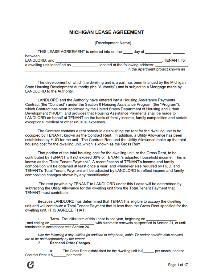 Free Michigan Rental Lease Agreement Templates Pdf Word Rtf