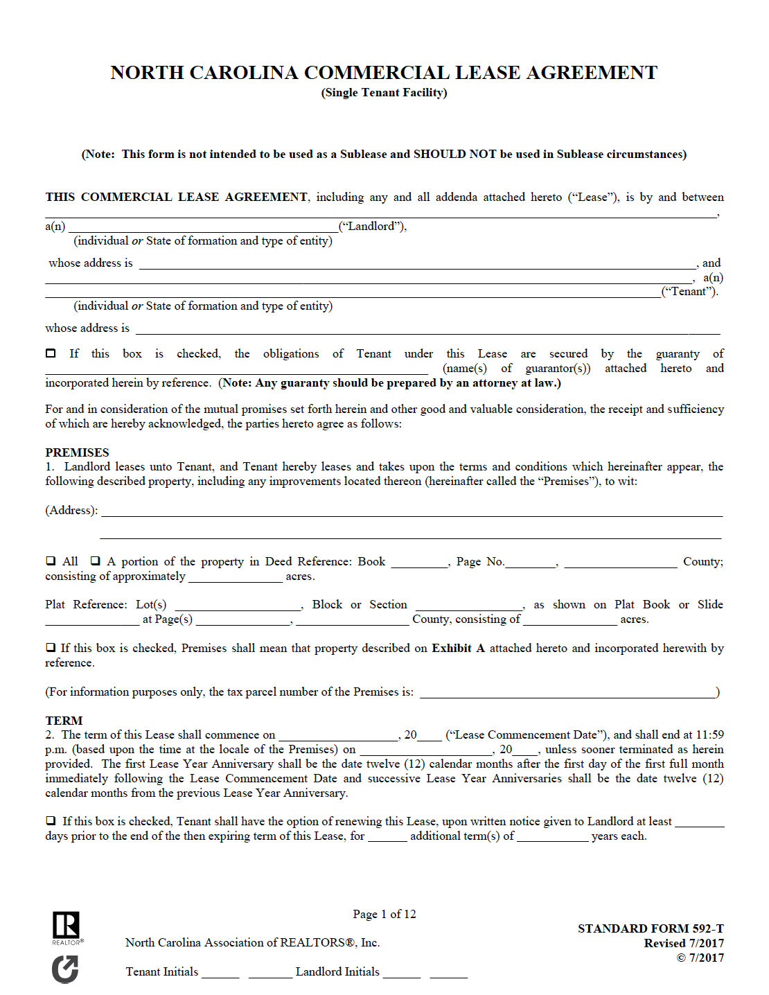 Free North Carolina Commercial Lease Agreement Pdf