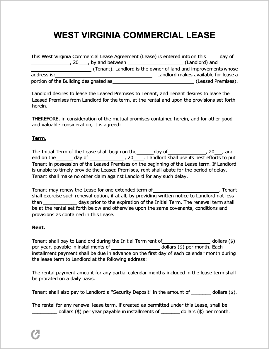 Free West Virginia Commercial Lease Agreement Pdf Word