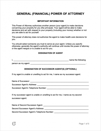 General Financial Power of Attorney Form