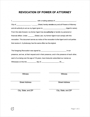 Revocation of Power of Attorney Form