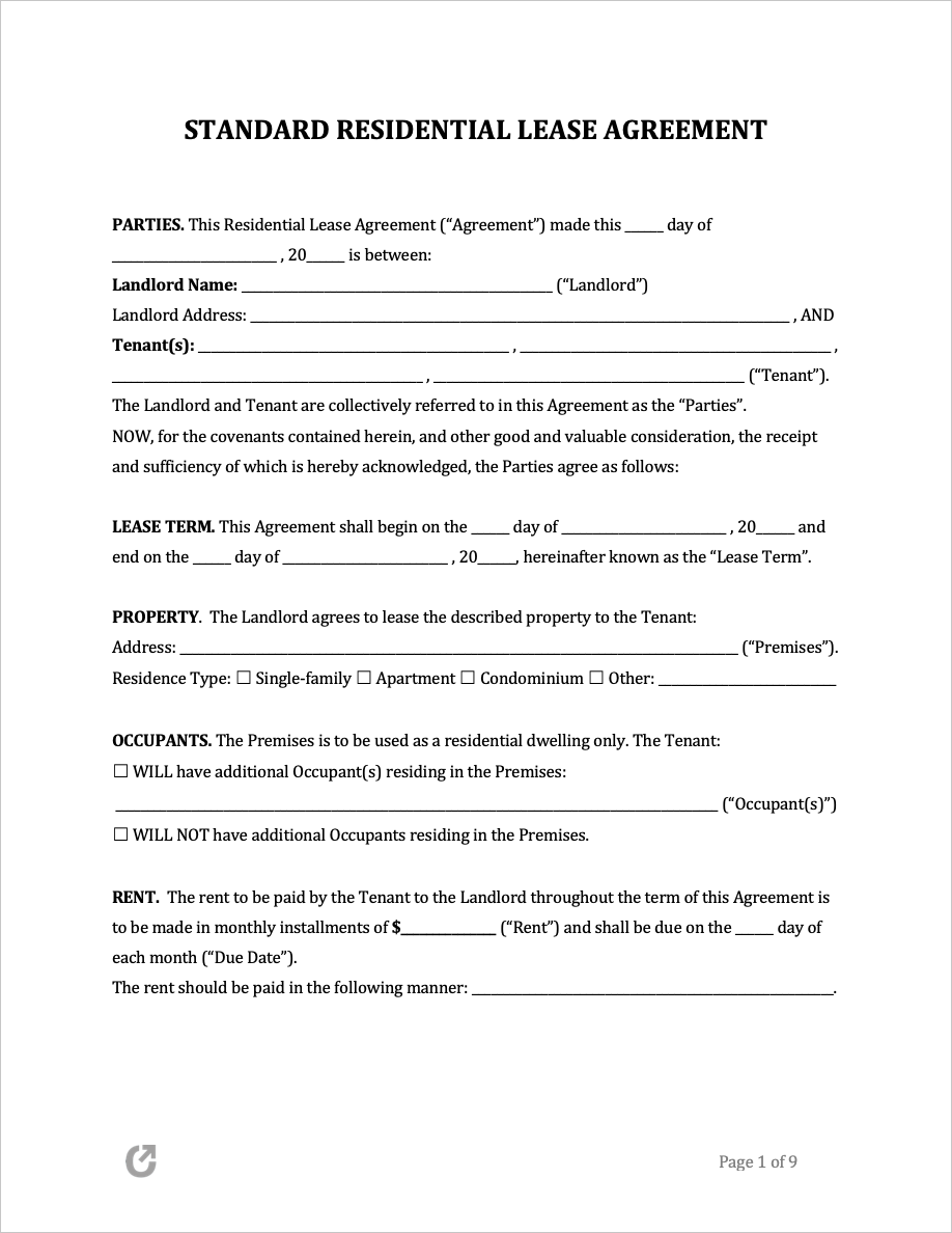 Free Lease Agreement Templates Pdf Word Rtf