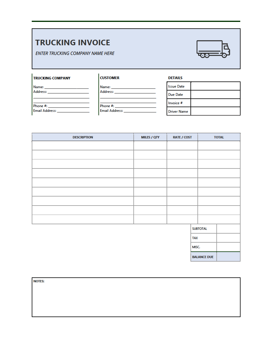 Free Trucking Invoice Template Pdf Word Excel