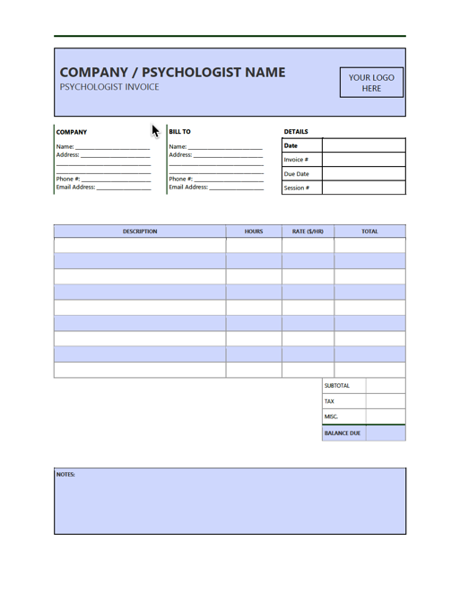 Free Psychologist Invoice Template Pdf Word Excel